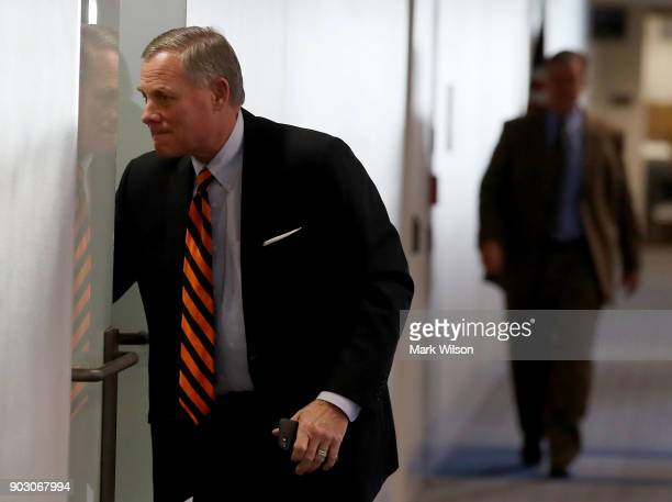 Chairman Richard Burr arrives at a Senate Intelligence Committee closed door meeting on January 9 2018 in Washington DC The committee is...