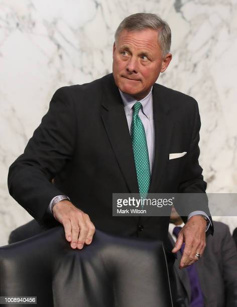 Chairman Richard Burr attends a Senate Intelligence Committee hearing on Capitol Hill on August 1 2018 in Washington DC The committee heard testimony...