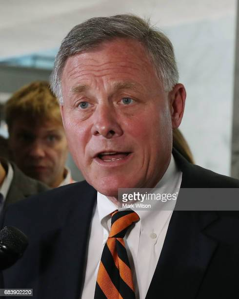Chairman Richard Burr speaks to the media after a Senate Select Committee on Intelligence closed door meeting at the US Capitol on May 16 2017 in...