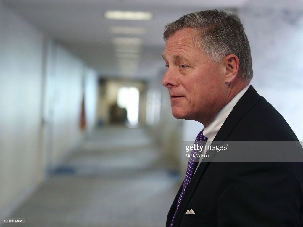 Chairman Richard Burr (R-NC), speaks to the media before entering a Senate Select Committee on Intelligence closed door meeting at the U.S. Capitol, on April 4, 2017 in Washington, DC. The committee has launch an investigation into possible Russian interference in the U.S. presidential election.