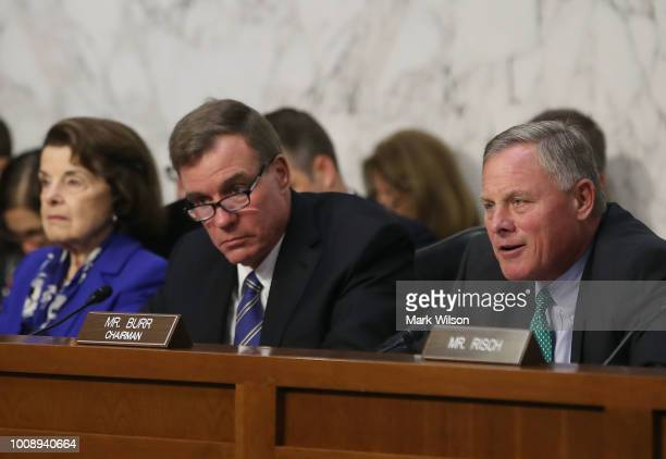 Chairman Richard Burr speaks while flanked by ranking member Sen Mark Warner and Sen Dianne Feinstein during a Senate Intelligence Committee hearing...