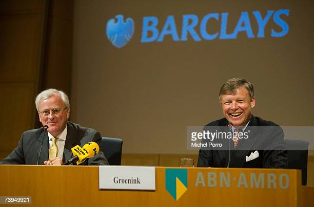 Chairman Rijkman Groenink and Barclays Group Chief Executive John Varley attend a press conference on April 23 2007 in Amsterdam Netherlands Barclays...