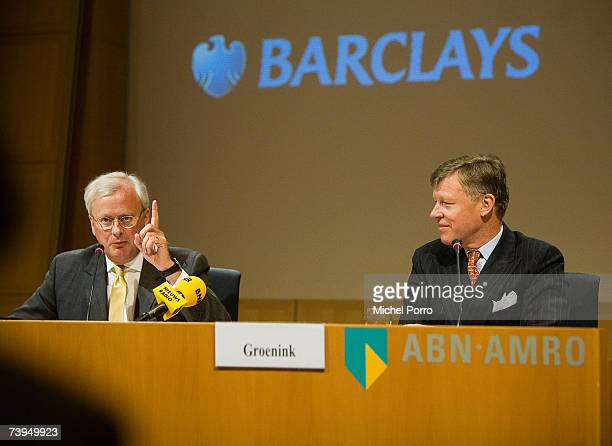 Chairman Rijkman Groenink and Barclays Group Chief Executive John Varley attend a press conference on April 23, 2007 in Amsterdam, Netherlands....