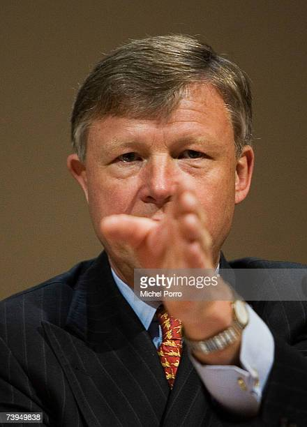 Chairman Rijkman Groenink attends a press conference on April 23, 2007 in Amsterdam, Netherlands. Barclays bank has announced its GBP45bn merger with...