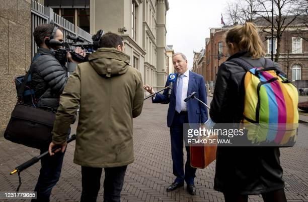 Chairman Rutger Ploum speaks to the press prior to a parliamentary party meeting of the Christian Democratic Appeal in Nieuwspoortin the day after...