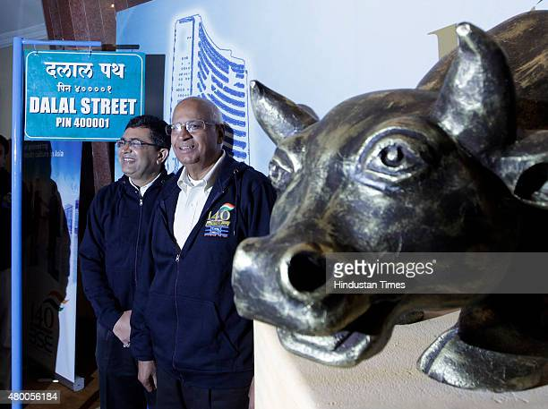 Chairman S Ramadorai and BSE MD Ashish Chauhan during the 140th Anniversary celebration of Bombay Stock Exchange on July 9 2015 in Mumbai India...