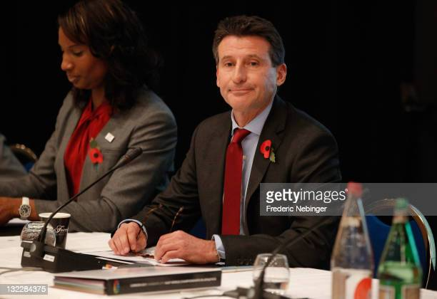 LOCOG chairman Sebastian Coe attends the announcement of Venue for 2017 IAAF World Athletics Championshipson November 11 2011 in Monaco Monaco