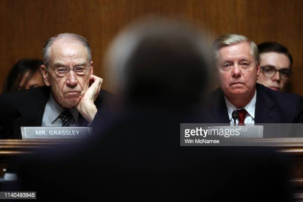 Chairman Sen. Lindsey Graham and Sen. Chuck Grassley listen to U.S. Attorney General William Barr testify before the Senate Judiciary Committee May...