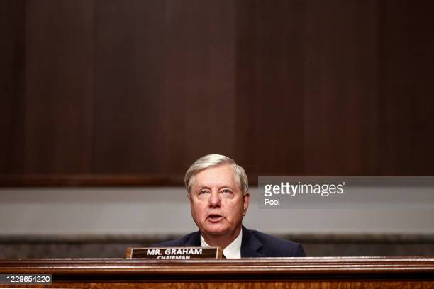 """Chairman Sen. Lindsey Graham speaks during a Senate Judiciary Committee hearing titled, """"Breaking the News: Censorship, Suppression, and the 2020..."""