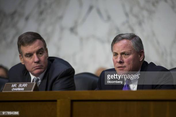 Chairman Senator Richard Burr a Republican from North Carolina right speaks during a Senate Intelligence Committee hearing on worldwide threats in...