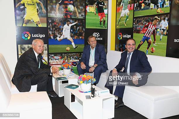 Chairman Soccerex Tony Martin CEO Soccerex Duncan Revie and Prince of Jordan Ali Bin al Hussein attend the Soccerex Americas Forum Mexico City Day 1...