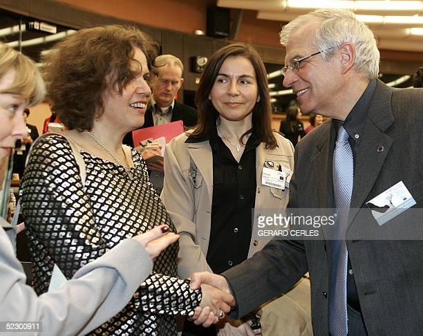 Chairman Spanish Josep Borrell shakes hands with Nurit PeledElhanan Israeli Sakharov prizewinner 2001 prior to a seminar to mark International...