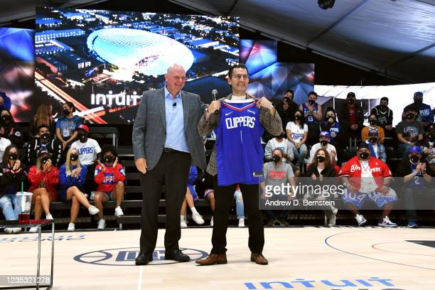 Chairman Steve Ballmer of the LA Clippers presents CEO of Intuit Sasan K. Goodarzi with a jersey during the LA Clippers ground breaking on Intuit...