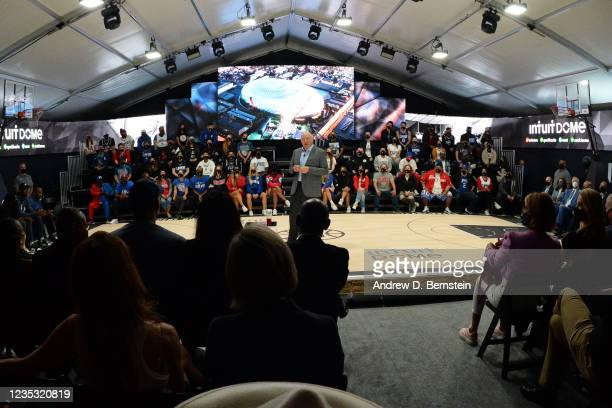 Chairman Steve Ballmer of the LA Clippers speaks during the ground breaking on Intuit Dome on September 17, 2021 in Inglewood, California. NOTE TO...