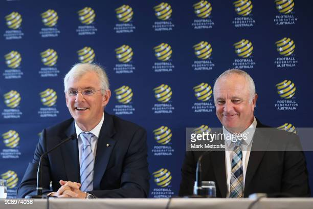 Chairman Steven Lowy speaks to the media during a press conference announcing the succession plan for long term appointment of head Socceroos coach...
