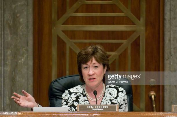 Chairman Susan Collins RMaine questions Rob Portman who testifies before the Senate Homeland Security and Governmental Affairs Committee during his...