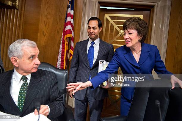 Chairman Susan Collins RMe introduces HUD Secretary Julian Castro center to Sen Jack Reed DRI ranking member before a Senate Appropriations...
