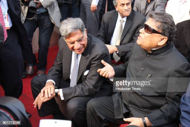 Chairman Tata Sons Ratan Tata with Minister of Heavy Industry and Public Enterprises Sontosh Mohan Deb during the inaugural function of 9th Auto Expo...
