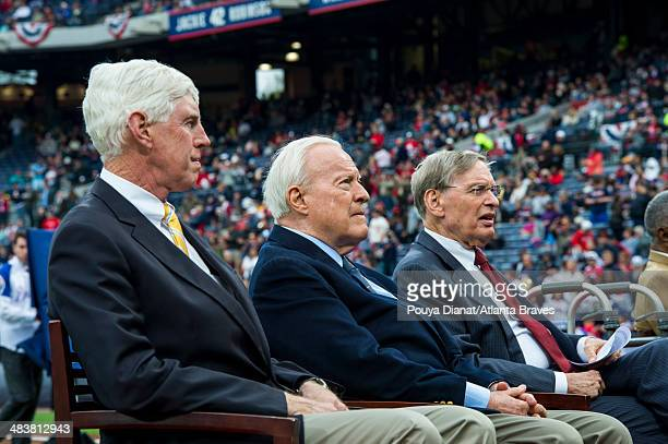 Chairman Terry McGuirk of the Atlanta Braves Bill Bartholomay and Major League Baseball commissioner Bud Selig during a ceremony honoring Aaron's...