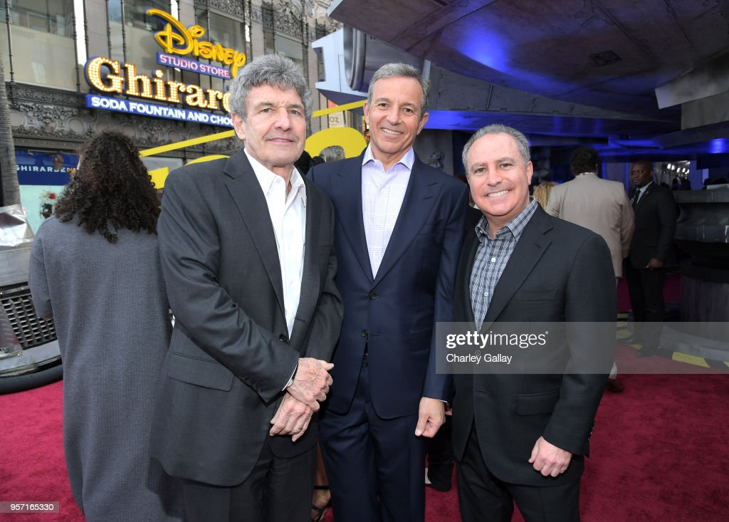 """Chairman, The Walt Disney Studios, Alan Horn, The Walt Disney Company Chairman and CEO Bob Iger, and Walt Disney Studios President Alan Bergman attend the world premiere of """"Solo: A Star Wars Story"""" in Hollywood on May 10, 2018."""