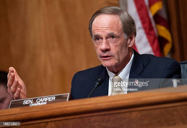 Chairman Tom Carper DDel speaks at a Senate Homeland Security and Governmental Affairs Committee hearing on 'Border Security Frontline Perspectives...