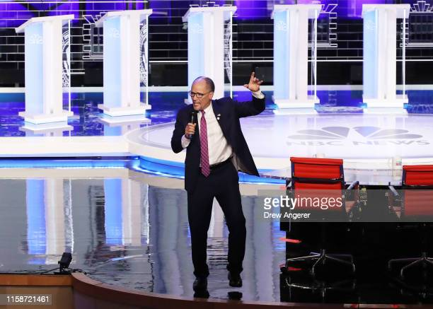 Chairman Tom Perez speaks prior to the start of the second night of the first Democratic presidential debate on June 27 2019 in Miami Florida A field...