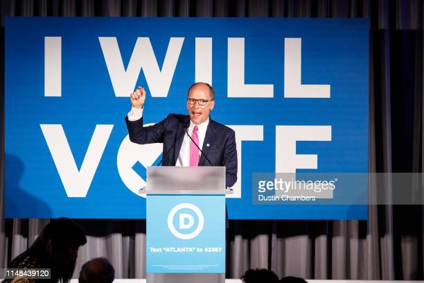 DNC chairman Tom Perez speaks to a crowd at a Democratic National Committee event at Flourish in Atlanta on June 6 2019 in Atlanta Georgia The DNC...
