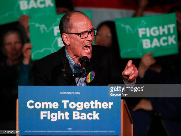 Chairman Tom Perez speaks to a crowd of supporters at a Democratic unity rally at the Rail Event Center on April 21 2017 in Salt Lake City Utah...