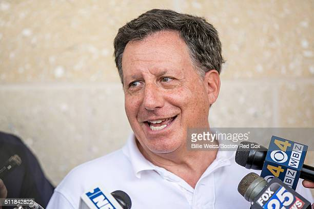 Chairman Tom Werner of the Boston Red Sox speaks with the media during a team workout on February 23 2016 at Fenway South in Fort Myers Florida