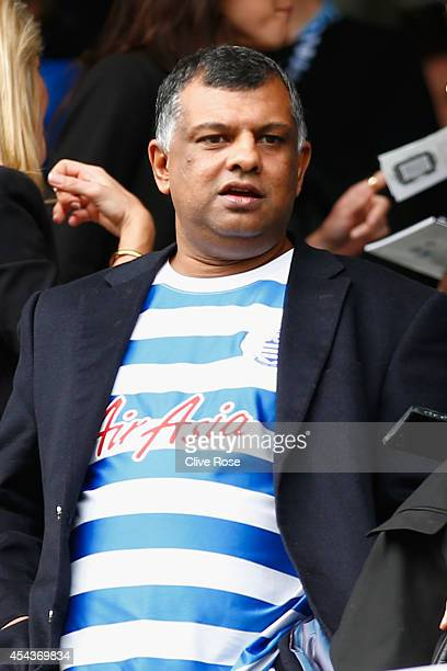Chairman Tony Fernandes looks on during the Barclays Premier League match between Queens Park Rangers and Sunderland at Loftus Road on August 30 2014...
