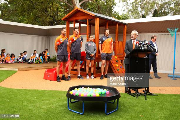 Chairman Tony Shepherd speaks to the media during a Greater Western Sydney Giants AFL media opportunity to launch their ÔLittle GIANTSÔ early...