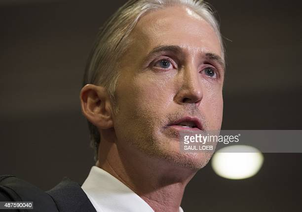 Chairman Trey Gowdy of the House Select Committee on Benghazi speaks with reporters after Bryan Pagliano a former State Department employee who...