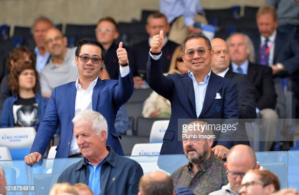 Chairman Vichai Srivaddhanaprabha and Vice chairman Aiyawatt Srivaddhanaprabha of Leicester City give a thumbs up during the Premier League match...