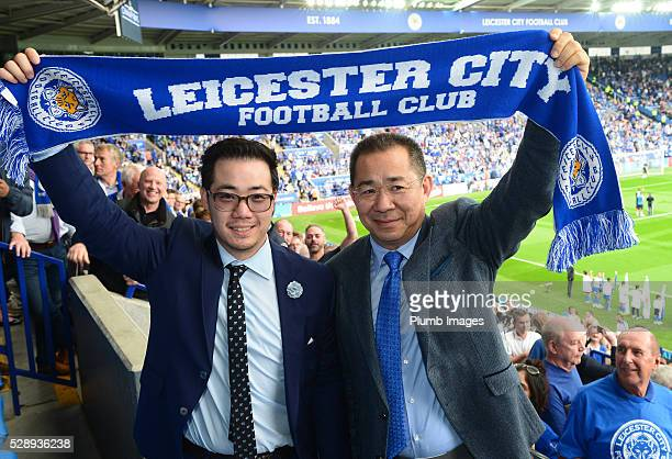 Chairman Vichai Srivaddhanaprabha and Vice chairman Aiyawatt Srivaddhanaprabha of Leicester City during the Barclays Premier League match between...