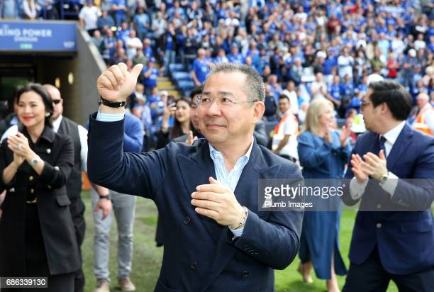Chairman Vichai Srivaddhanaprabha of Leicester City acknowledges the fans during a lap of the pitch after the Premier League match between Leicester...