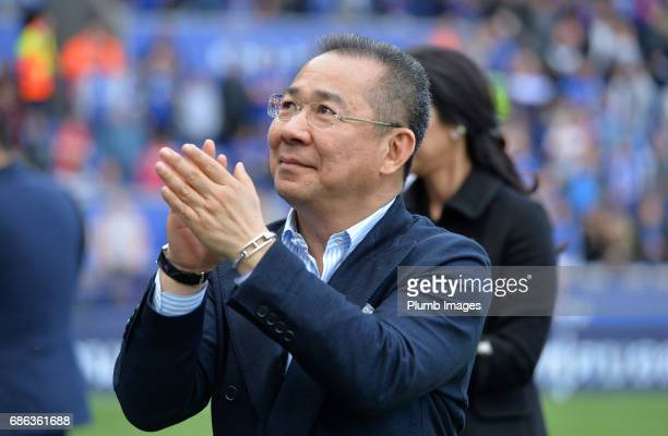 Chairman Vichai Srivaddhanaprabha of Leicester City applauds the fans during a lap of the pitch after the Premier League match between Leicester City...
