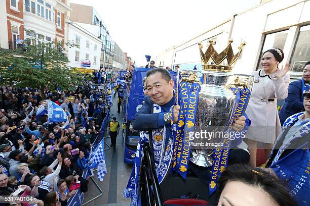 Chairman Vichai Srivaddhanaprabha of Leicester City on the Leicester City Barclays Premier League Winners Bus Parade on May 16th, 2016 in Leicester,...