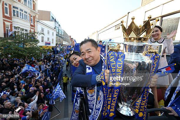 Chairman Vichai Srivaddhanaprabha of Leicester City on the Leicester City Barclays Premier League Winners Bus Parade on May 16th 2016 in Leicester...