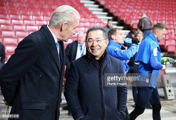 Chairman Vichai Srivaddhanaprabha of Leicester City watches his team during the training session at Telia Parken Stadium ahead of the Champions...
