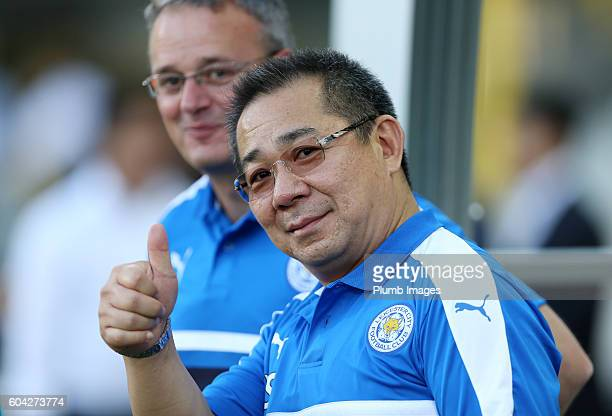 Chairman Vichai Srivaddhanaprabha of Leicester City watches on during the training session at Jan Breydel Stadium on September 13, 2016 in Bruges,...