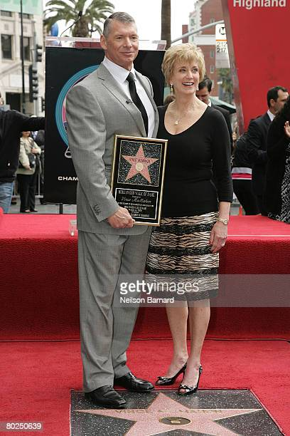 Chairman Vince McMahon and his wife Linda McMahon attend a ceremony honoring him with a star on the Hollywood Walk of Fame at Hollywood and Highland...