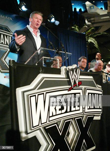 Chairman Vince McMahon attends a press conference to promote Wrestlemania XX at Planet Hollywood March 11 2004 in New York City