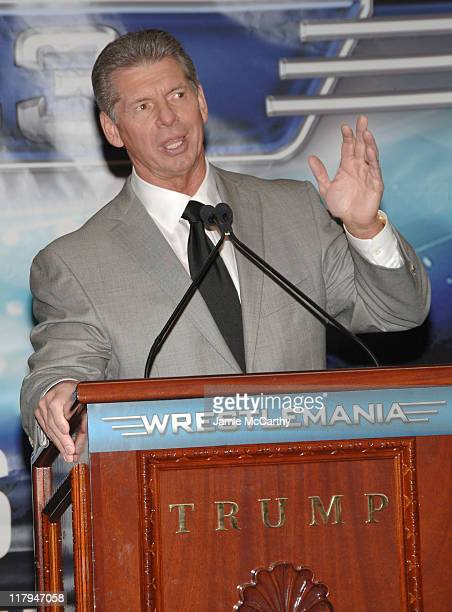 WWE Chairman Vince McMahon during Donald Trump and WWE News Conference for WrestleMania 23 March 28 2007 at Trump Tower in New York City New York...