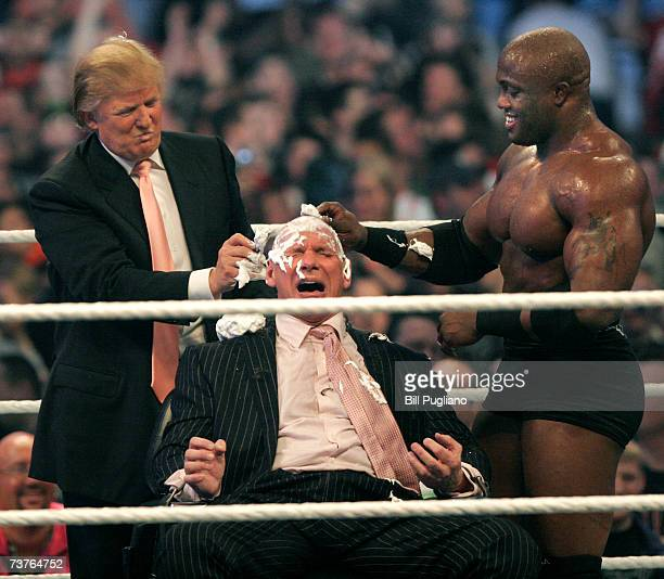 Chairman Vince McMahon has his head shaved by Donald Trump and Bobby Lashley after losing a bet in the Battle of the Billionaires at the 2007 World...