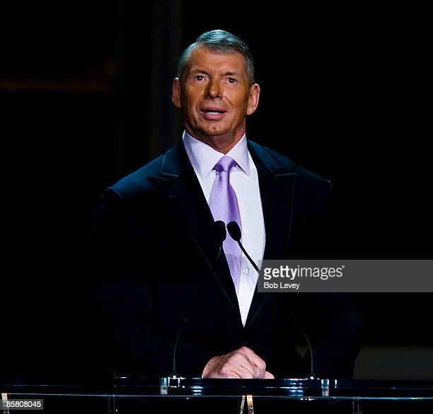 Chairman Vince McMahon inducts Stone Cold Steve Austin into the WWE Hall of Fame at the 25th Anniversary of WrestleMania's WWE Hall of Fame at the...