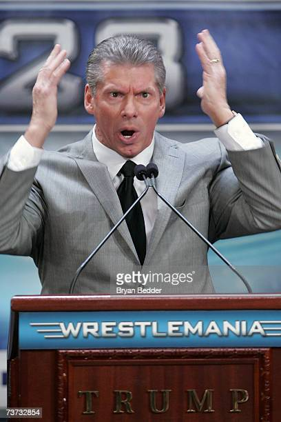 Chairman Vince McMahon speaks at the press conference held by Battle of the Billionaires to announce details of Wrestlemania 23 at Trump Tower on...