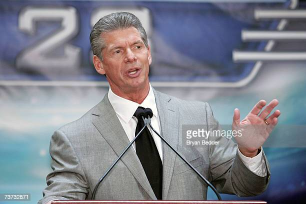 WWE chairman Vince McMahon speaks at the press conference held by Battle of the Billionaires to announce details of Wrestlemania 23 at Trump Tower on...