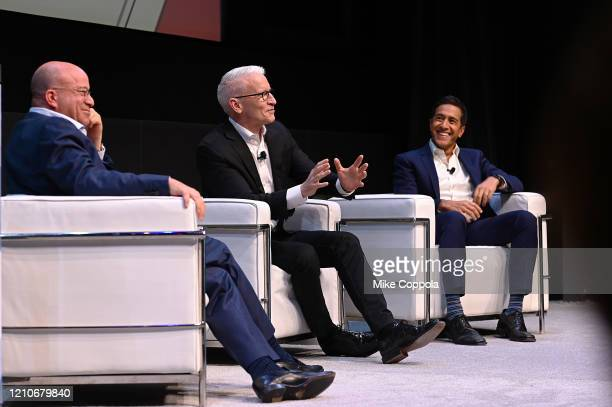 Chairman WarnerMedia New Sports President CNN Worldwide Jeff Zucker Anderson Cooper and Dr Sanjay Gupta speak onstage during CNN Experience on March...