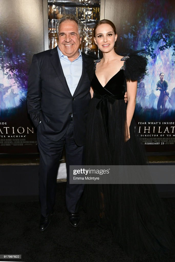 Chairman/CEO of Paramount Motion Picture Group, Jim Gianopulos (L) and Natalie Portman attend the premiere of Paramount Pictures' 'Annihilation' at Regency Village Theatre on February 13, 2018 in Westwood, California.