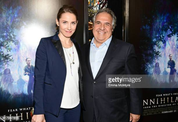 Chairman/CEO of Paramount Motion Picture Group Jim Gianopulos and Tuva Novotny attend the premiere of Paramount Pictures' 'Annihilation' at Regency...